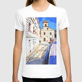 Borrello: foreshortening with church T-shirt