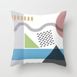 Geometric abstract art, pastel tones shapes and dots print Throw Pillow