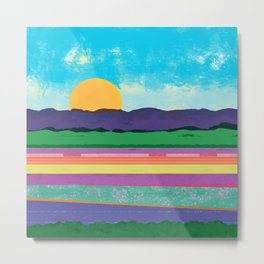 Abstract Landscape-Sunrise Over Flower Fields Metal Print