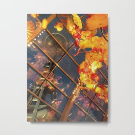 Seattle Space Needle View from Chihuly's Glasshouse Metal Print