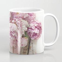 Shabby Chic Pink Peonies Paris Books Wall Art Print Home Decor Coffee Mug