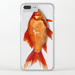 Red Gold Fish Clear iPhone Case