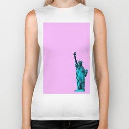 Blue Statue of Liberty on Pink Biker Tank