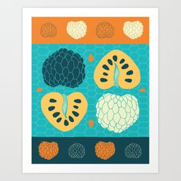 Tropical Paleo –Custard Apple in Blue Art Print
