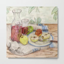 Still life of fruit and wine - Painting Metal Print