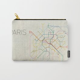 Minimal Paris Subway Map Carry-All Pouch