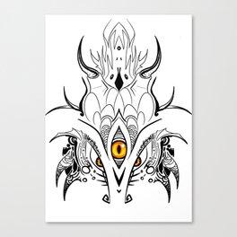 Menacing Zen Doodle Dragon Canvas Print