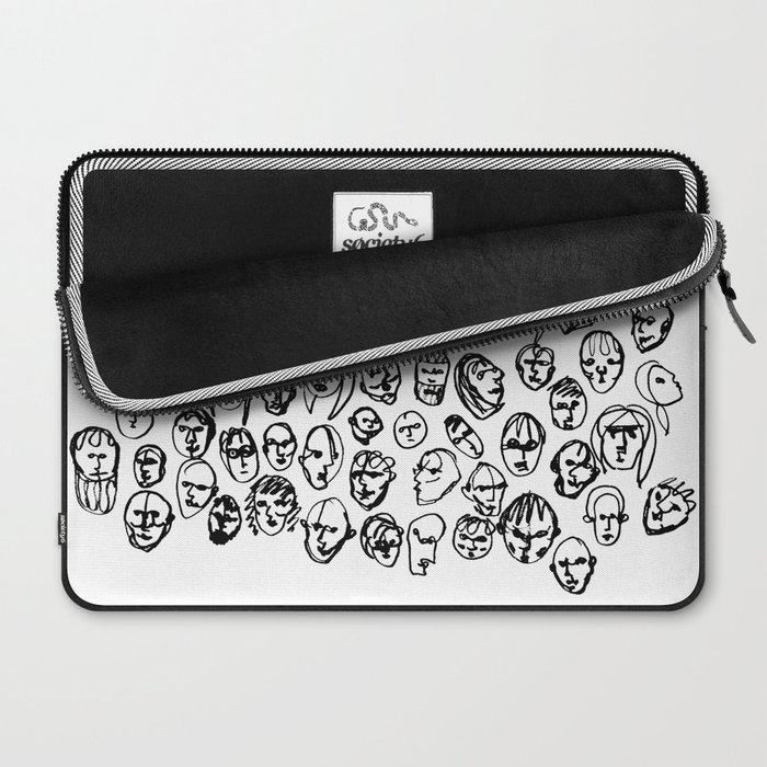 Black and White Line Drawing Faces Laptop Sleeve