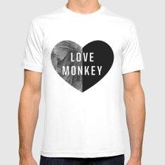 Love Monkey White MEDIUM Mens Fitted Tee