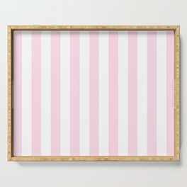 Simple Pink and White stripes, vertical Serving Tray