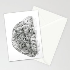 Pensive Snow Leopard  Stationery Cards