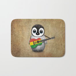 Baby Penguin Playing Bolivian Flag Acoustic Guitar Bath Mat