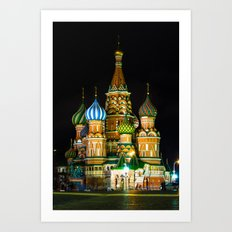 St. Basil's Cathedral on red square in Moscow Art Print