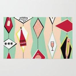 Retro, 1950's Diamond Pattern, Pink, Turquoise Rug