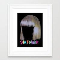 sia Framed Art Prints featuring Sia head by Melina Espinoza