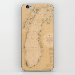 Map of Lake Michigan 1898 iPhone Skin
