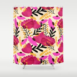 Vibrant Floral Wallpaper Shower Curtain