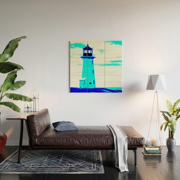 Abstract Blue Nautical Nova Scotia Canada Lighthouse Wood