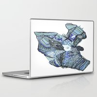 ying yang Laptop & iPad Skins featuring BLUE YING YANG by Alex Rocha