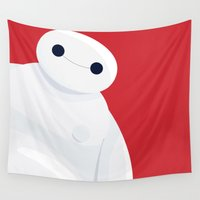 big hero 6 Wall Tapestries featuring BH6 - Baymax - Big Hero 6 by Alessandro Aru