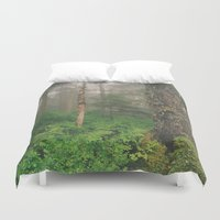 forrest Duvet Covers featuring Foggy Forrest by Donovan Bennett Designs