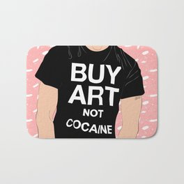 Buy Art, Not Cocaine - Dude with Blue Hair Typography Digital Drawing Bath Mat