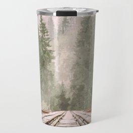 Geometric railroad and trees illustration Travel Mug