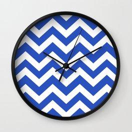 Cerulean blue - blue color - Zigzag Chevron Pattern Wall Clock