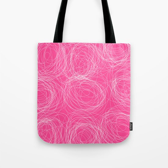 Abstract white circles and dots - abstract pattern - on pink Tote Bag