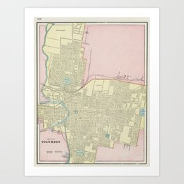 Vintage Map of Columbus Ohio (1901) Art Print