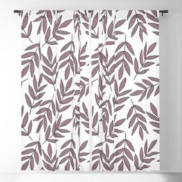 Mauve pink brown modern hand painted fall leaves Blackout Curtain