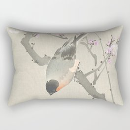 Bird Sitting on a Blossomed Peach Tree - Vintage Japanese Woodblock Print Art Rectangular Pillow