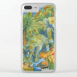 elephants in africa Clear iPhone Case