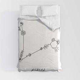 Pisces Floral Zodiac Constellation Comforters