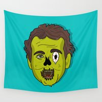murray Wall Tapestries featuring ZomBill Murray by Chelsea Herrick