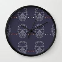 skulls Wall Clocks featuring Skulls by Hipster