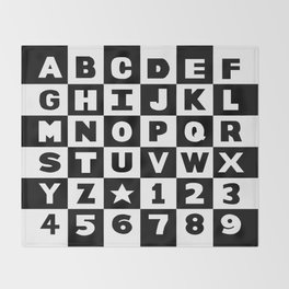 Alphabet Black and White Throw Blanket