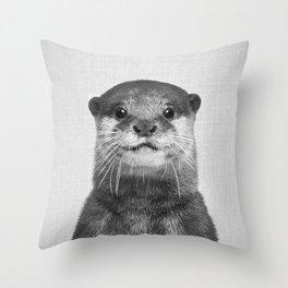 Otter - Black & White Throw Pillow