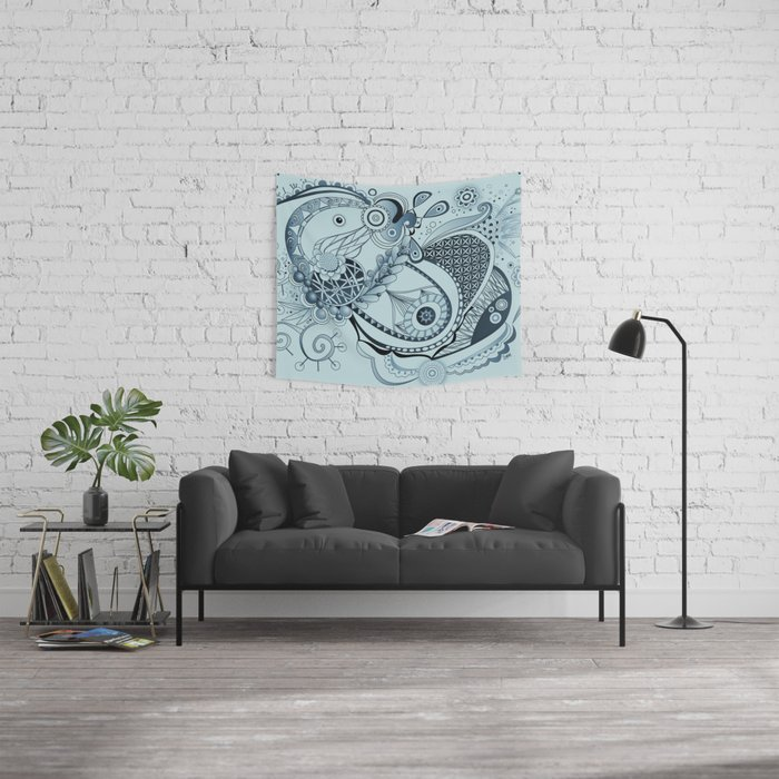 Spring tangle, colony blue Wall Tapestry