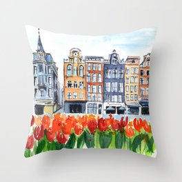 Amsterdam watercolor Throw Pillow