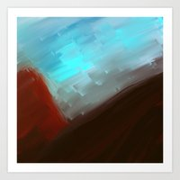 free shipping Art Prints featuring Mountains in blue by Ordiraptus