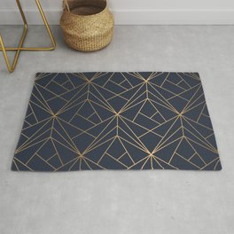 Navy blue Gold Geometric Pattern With White Shimmer Rug