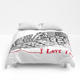 I Love You feather pen Comforters