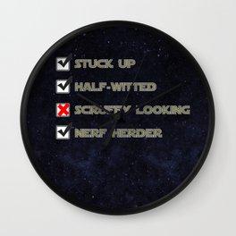 Star Wars Nerf Herder Survey.  Starry background Wall Clock