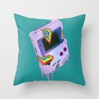 gameboy Throw Pillows featuring Gameboy Melt by KING BOZU