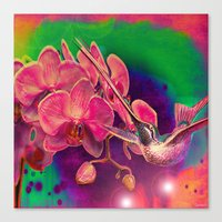 hummingbird Canvas Prints featuring Hummingbird by Ganech joe