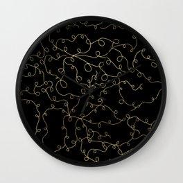 Elegant faux gold foil flourish swirls black Wall Clock
