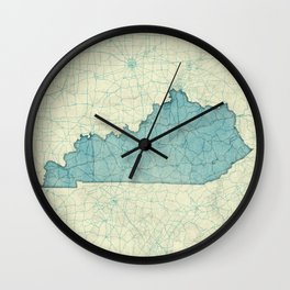 Kentucky State Map Blue Vintage Wall Clock