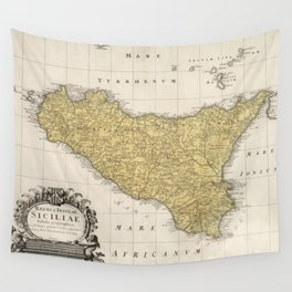 Vintage Map of Sicily Italy (1747) Wall Tapestry