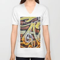 graffiti V-neck T-shirts featuring Graffiti by Fine2art